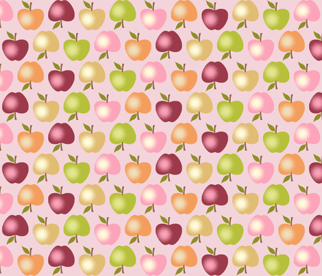 Autumn Apples - Pink fabric by inscribed_here on Spoonflower - custom fabric