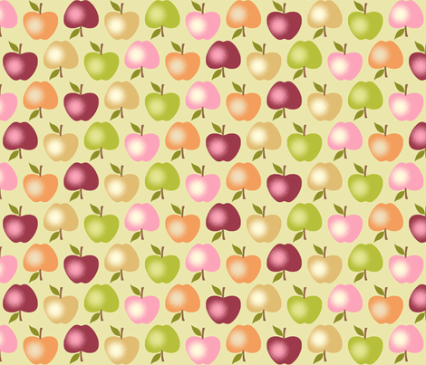 Autumn Apples - Green fabric by inscribed_here on Spoonflower - custom fabric