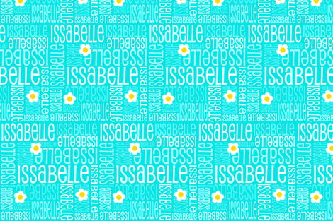 Personalised Name Fabric - Turquoise with Daisies fabric by shelleymade on Spoonflower - custom fabric