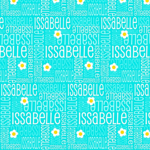 Personalised Name Fabric - Turquoise with Daisies