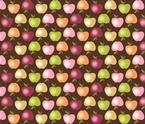 Autumn Apples - Brown fabric by inscribed_here on Spoonflower - custom fabric
