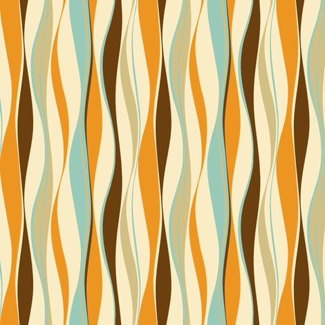 wavy lines retro fabric by threebranchesdesign on Spoonflower - custom fabric