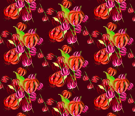 tropical flowers dark red  fabric by jeanne-design-illustration on Spoonflower - custom fabric