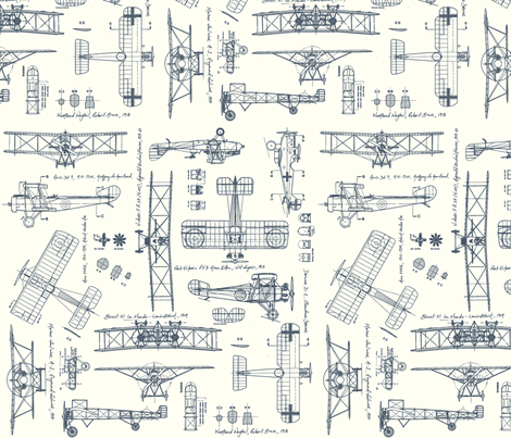 WW1 Blue/Cream fabric by savannahlindsay on Spoonflower - custom fabric