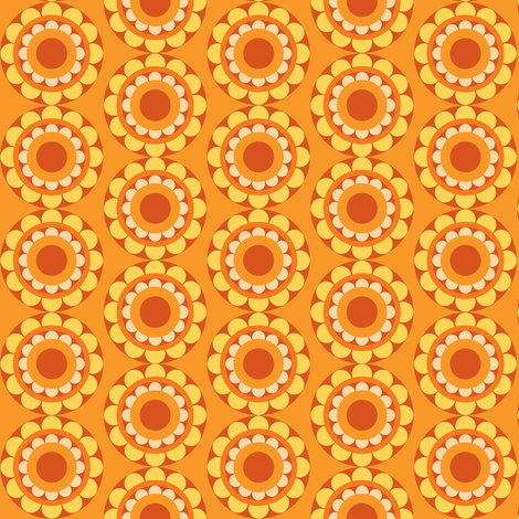 retflower_orange fabric by lilliblomma on Spoonflower - custom fabric