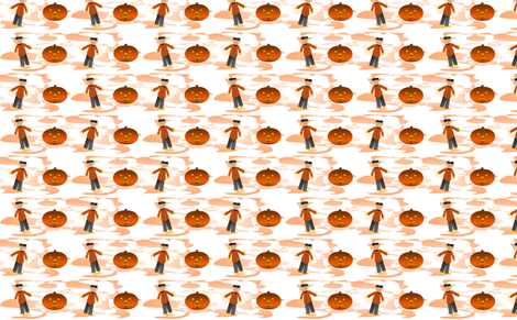 Scarecrows and pumpkins fabric by sewbiznes on Spoonflower - custom fabric