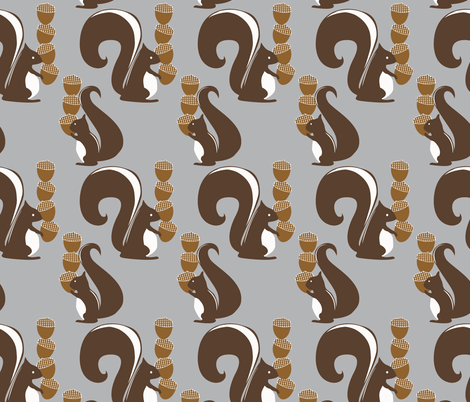 Squirrels and Their Nuts-ch fabric by meg56003 on Spoonflower - custom fabric