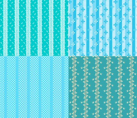 4 for 1 turquoise and white stripes fabric by glimmericks on Spoonflower - custom fabric