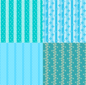 4 for 1 turquoise and white stripes