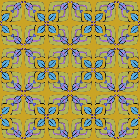 Four Leaves (Blue) fabric by david_kent_collections on Spoonflower - custom fabric