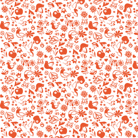 folklorique_orange fabric by johanna_design on Spoonflower - custom fabric