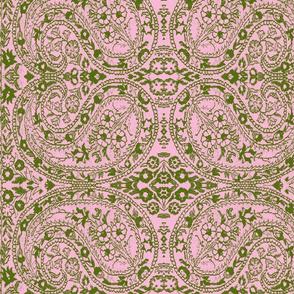 paisley green-rose