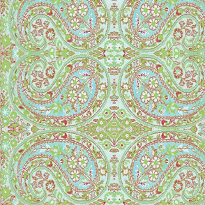 paisley green-turquoise-red