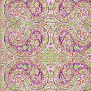 paisley green-lilac-red
