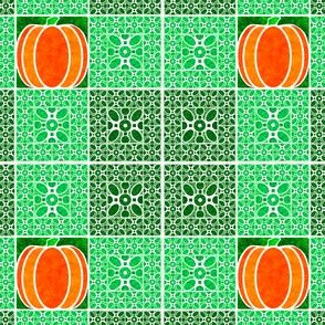Marble Mosaic Pumpkin Squares in Green