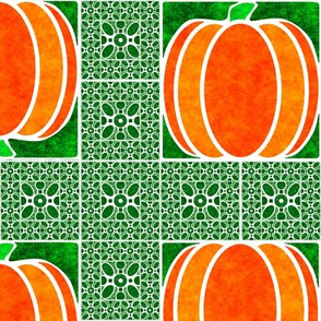 Marble Mosaic Pumpkin Grid in Green