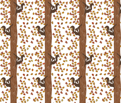 Climbing Squirrels white background fabric by meg56003 on Spoonflower - custom fabric