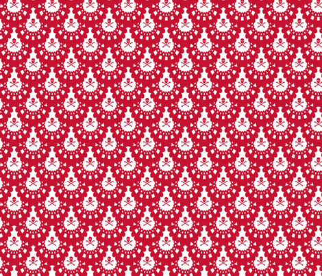 Red Skull and Crossbones Lace on White fabric by littlemisscrow on Spoonflower - custom fabric