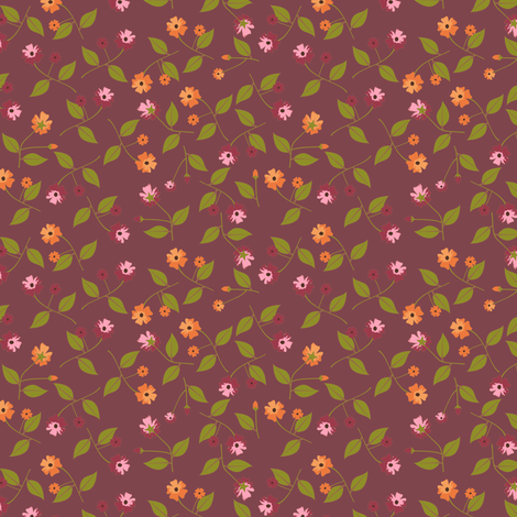 Flowers for the Table - Berry fabric by inscribed_here on Spoonflower - custom fabric
