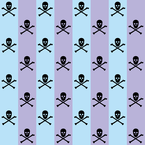black skull and crossbones on blue and lavender stripe fabric by littlemisscrow on Spoonflower - custom fabric