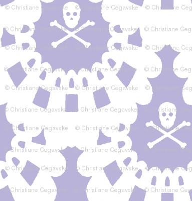 White Skull and Crossbones Lace White on Lavender