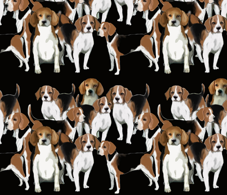 Black White and tan Beagles fabric by dogdaze_ on Spoonflower - custom fabric