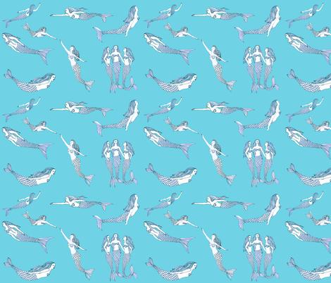 mermaid toile fabric by vonblohn on Spoonflower - custom fabric