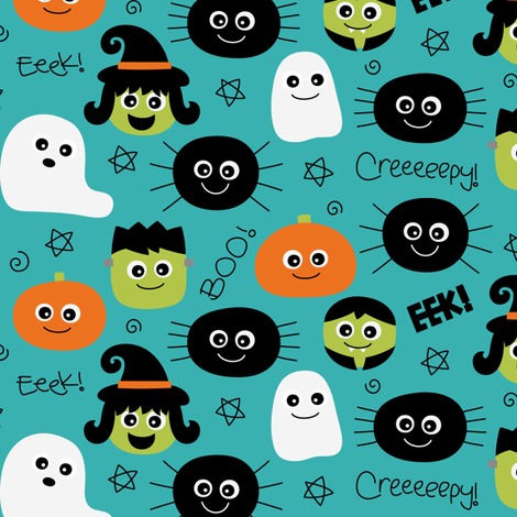 halloween cuties teal fabric by misstiina on Spoonflower - custom fabric