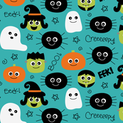 halloween cuties teal