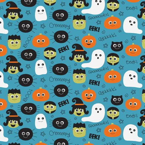 halloween cuties blue fabric by misstiina on Spoonflower - custom fabric