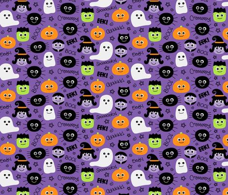 halloween cuties on purple fabric by misstiina on Spoonflower - custom fabric