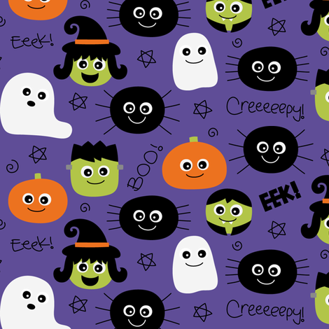 halloween cuties purple fabric by misstiina on Spoonflower - custom fabric