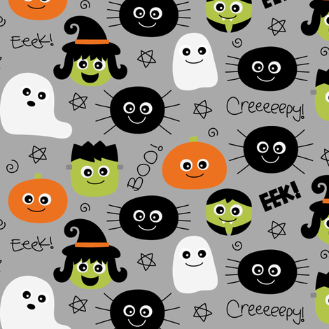 halloween cuties grey fabric by misstiina on Spoonflower - custom fabric