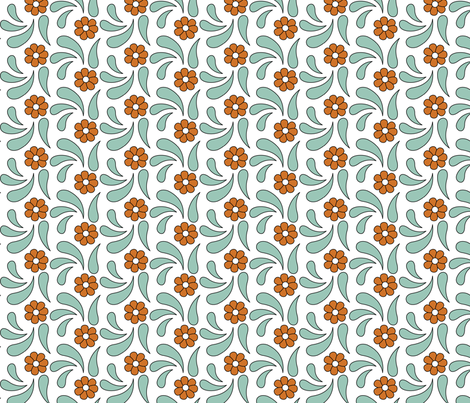 Tiny flowers in a bead of leaves fabric by andrea11 on Spoonflower - custom fabric
