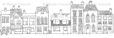 Down Our Street Drawing Fabric Woodledoo Spoonflower