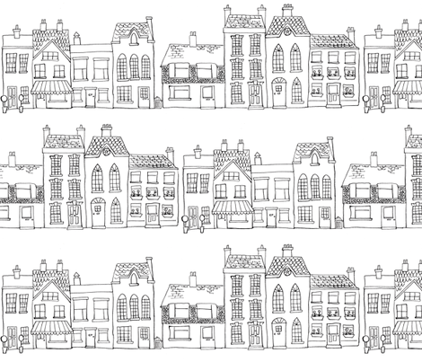 Down Our Street - Drawing fabric by woodle_doo on Spoonflower - custom fabric