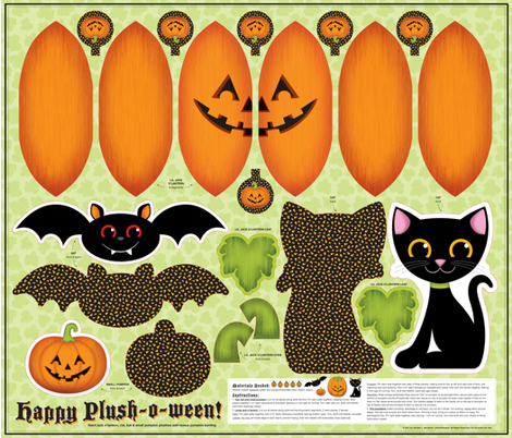 Happy Plush-o-ween! fabric by jennartdesigns on Spoonflower - custom fabric
