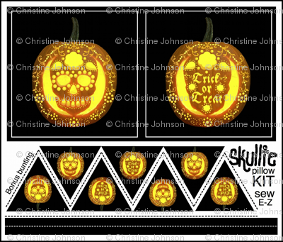 Skullie jack o' lantern pillow kit