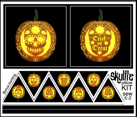Skullie jack o' lantern pillow kit fabric by paragonstudios on Spoonflower - custom fabric