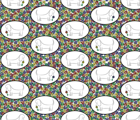 Doodle Bassets and Flowers - Tile fabric by robyriker on Spoonflower - custom fabric