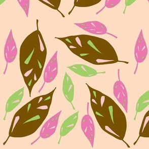 Brown Scattered Leaves - Peach Autumn version