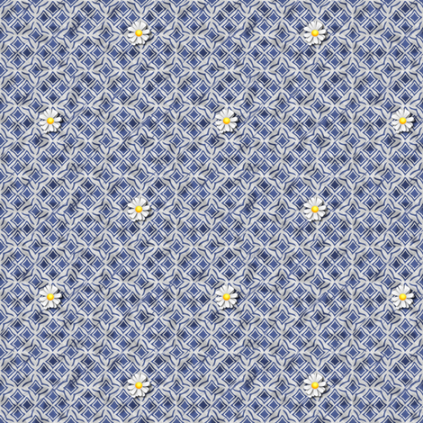Tiles and Daisies fabric by glimmericks on Spoonflower - custom fabric