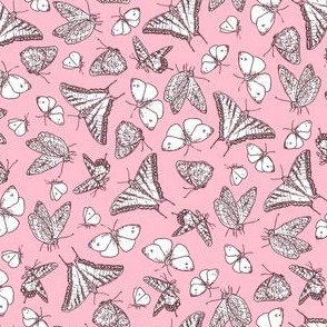My Garden Toile Butterflies Ditsy Rose Pink ©2011 by Jane Walker