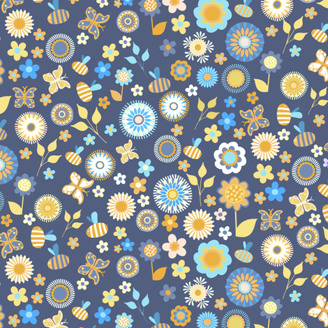 Ditsy Garden Blue fabric by kezia on Spoonflower - custom fabric