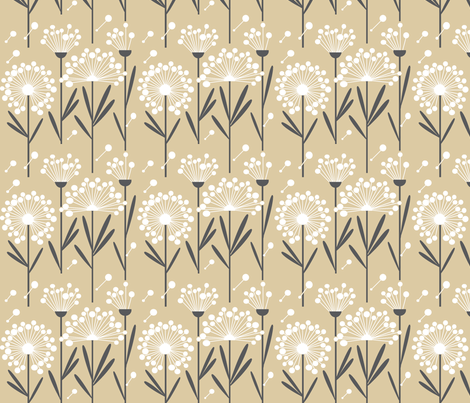 Autumn Dandelion Khaki  (Spoonflower Background)-ch fabric by p&e_designs on Spoonflower - custom fabric