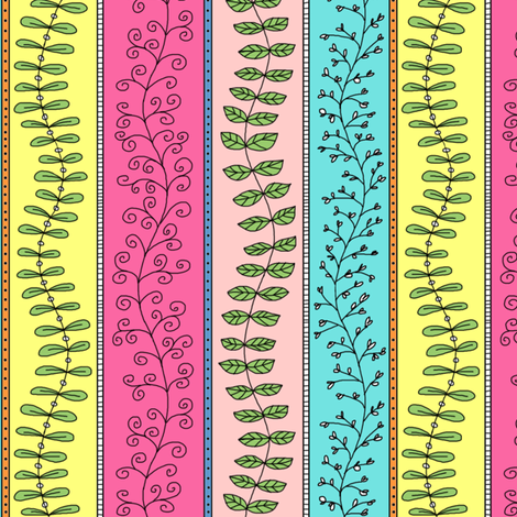 Vines and Branches Stripes (Multi) fabric by angelaanderson on Spoonflower - custom fabric
