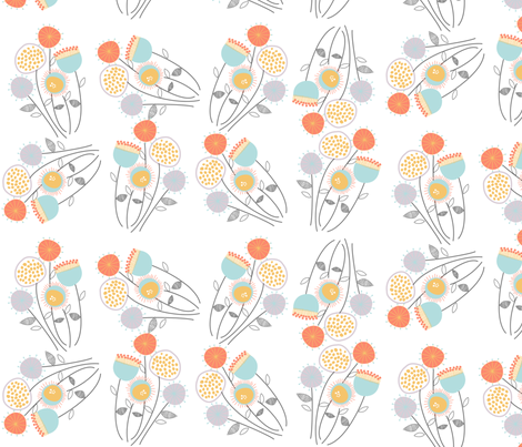 Doodled Flowers fabric by meg56003 on Spoonflower - custom fabric