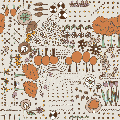 Ditsy Garden - cream fabric by wiccked on Spoonflower - custom fabric