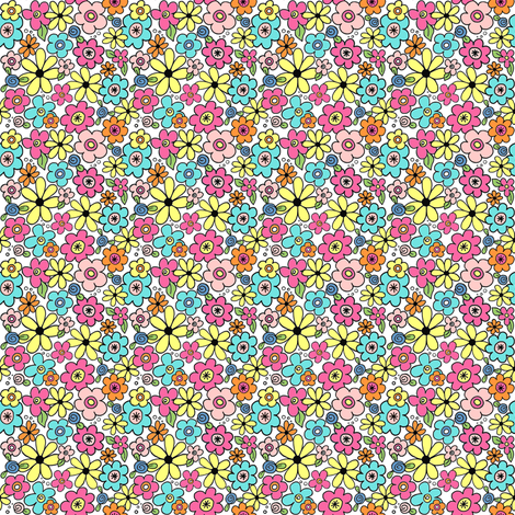 Colorful Ditsy Flowers fabric by angelaanderson on Spoonflower - custom fabric