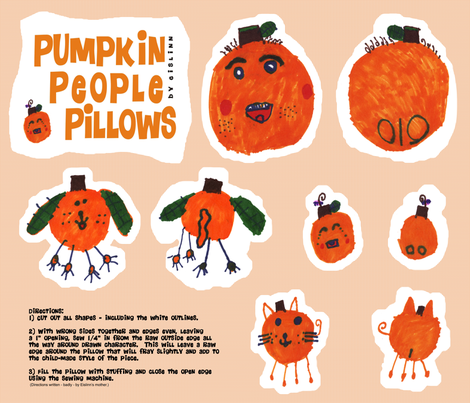 Pumpkin People Pillows fabric by eislinn on Spoonflower - custom fabric